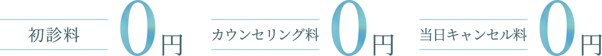 初診料0円、カウセリング料0円、当日キャンセル料0円