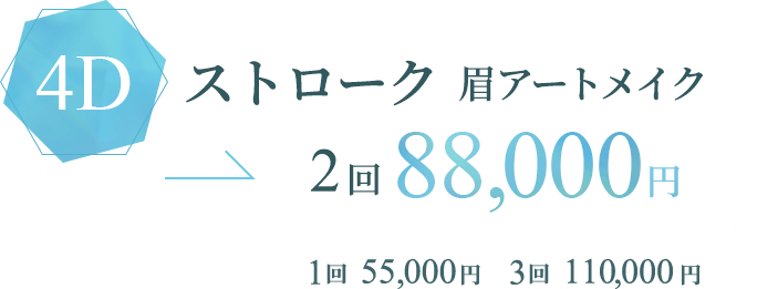 4D ストローク 眉アート/2回88,000円/1回 55,000円/3回 110,000円
